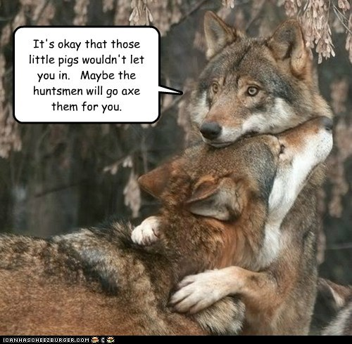 Sad,three little pigs,wolves,huntsman,hugging,comforting,axe