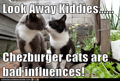 Look Away Kiddies......  Chezburger cats are bad influences!
