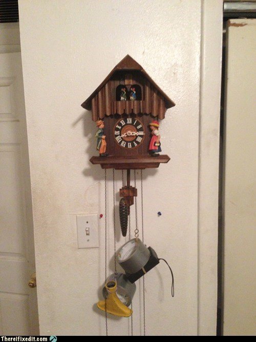 redneck cuckoo clock,cuckoo clock,redneck,duct tape,g rated,there I fixed it