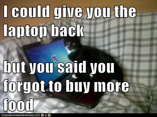 I could give you the laptop back  but you said you forgot to buy more food