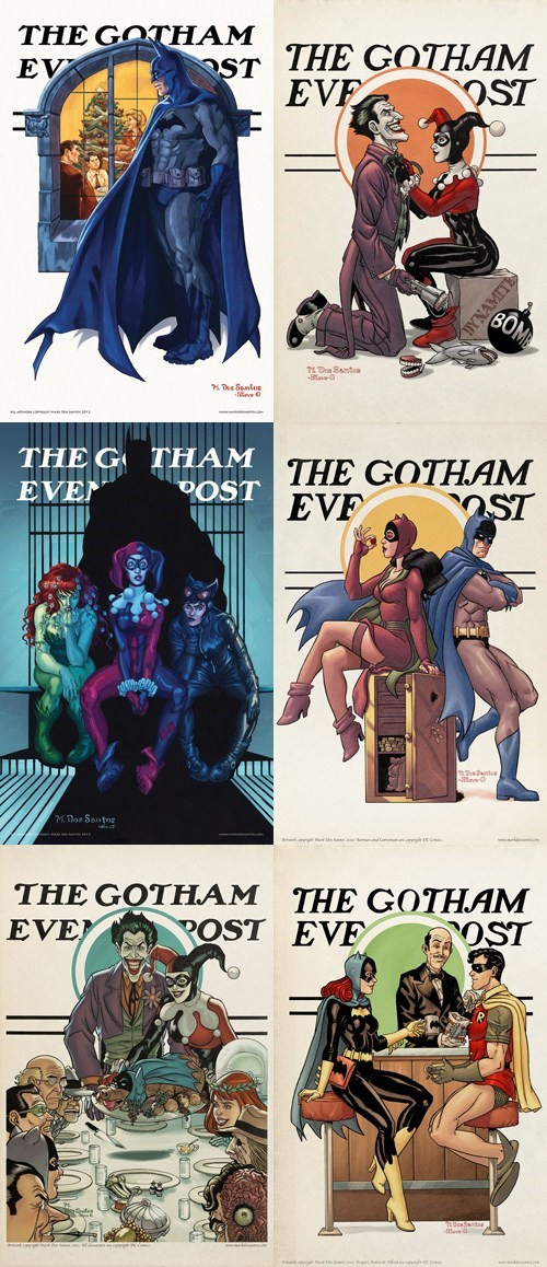 norman rockwell,saturday evening post,robin,the joker,batgirl,catwoman,batman,Harley Quinn,poison ivy,magazine covers,gotham city