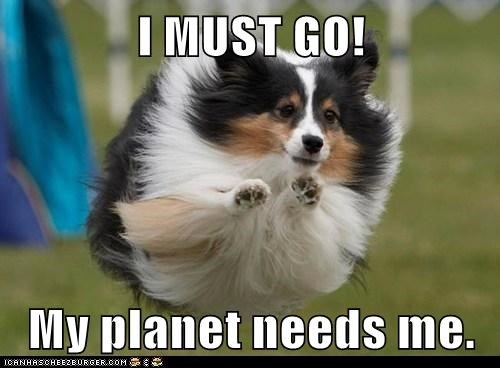 I MUST GO!  My planet needs me.