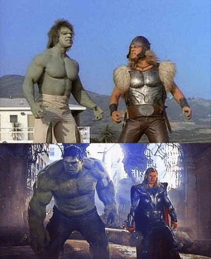 Thor and The Incredible Hulk 34 Years Apart