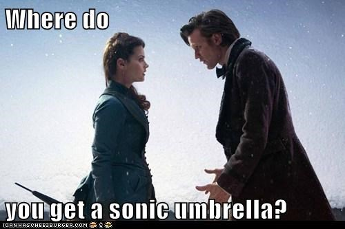 umbrella,clara oswald,the doctor,jenna-louise coleman,Matt Smith,doctor who,sonic