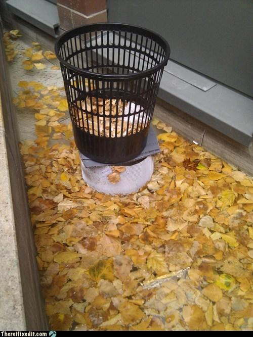 waste basket,clogged drain,drain pipe,drain