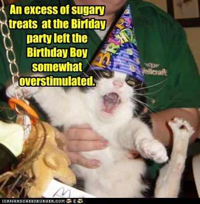 An excess of sugary treats  at the Birfday party left the Birthday Boy somewhat overstimulated.
