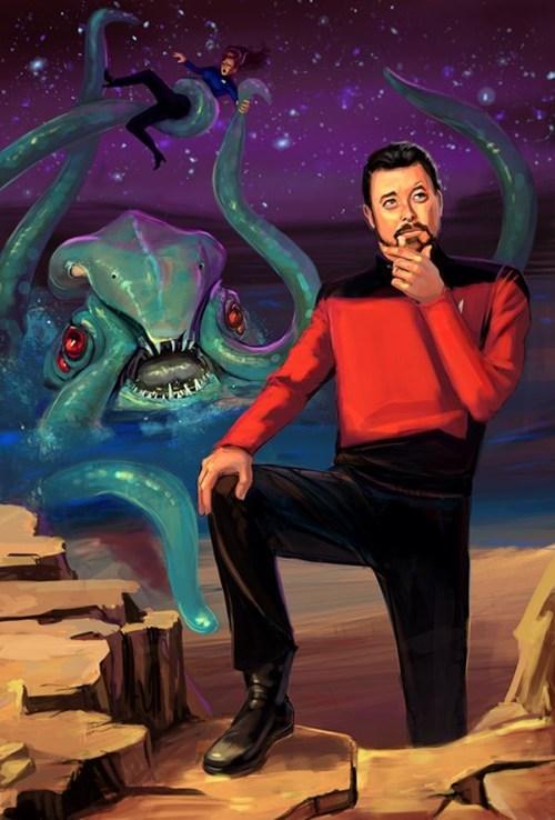 william riker,fan art,the next generation,octopus,Star Trek,forgot,monster