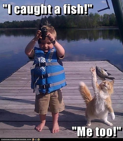 """I caught a fish!""  ""Me too!"""