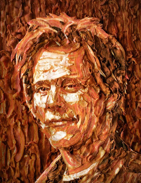 Kevin Bacon Portrait Made of Bacon
