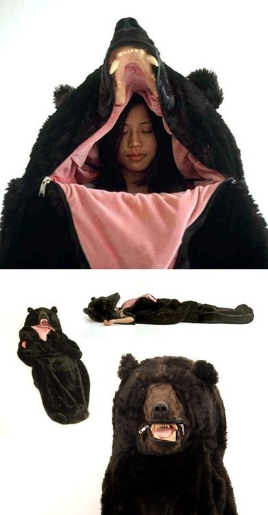 bear,sleeping bag,poorly dressed,g rated