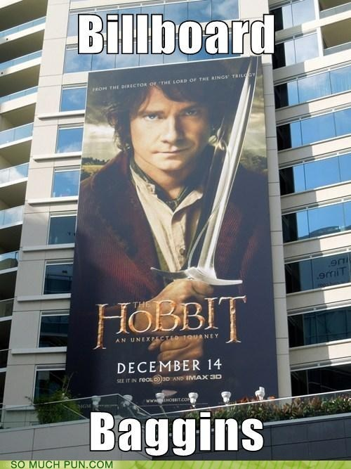 billboard,Bilbo Baggins,bilbo,similar sounding,The Hobbit,literalism