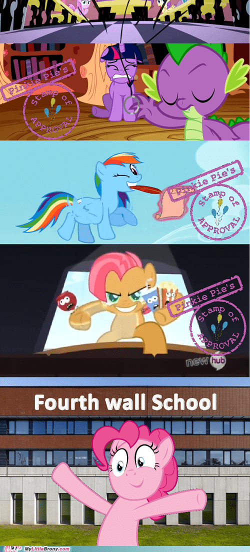 school,fourth wall,pinkie pie,stamp of approval