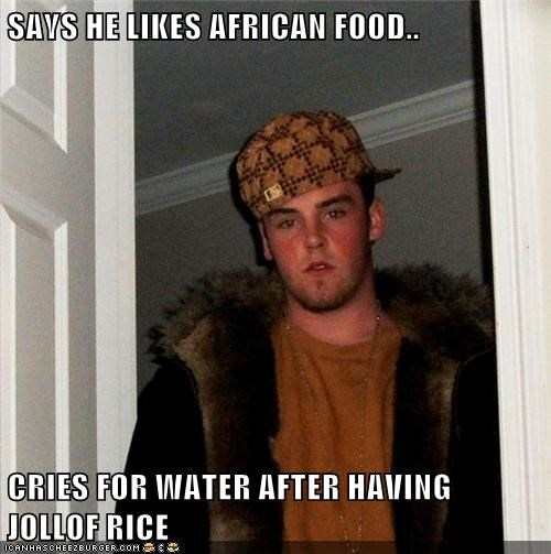 SAYS HE LIKES AFRICAN FOOD..  CRIES FOR WATER AFTER HAVING JOLLOF RICE