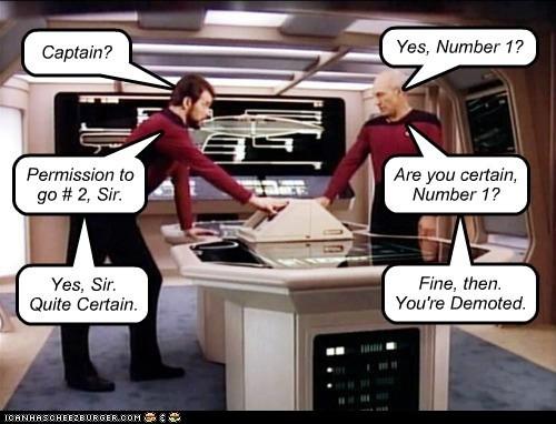 number two,william riker,Captain Picard,Jonathan Frakes,demoted,misunderstanding,number one,patrick stewart