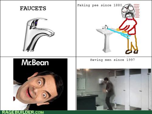 rage guy,fuuuu,pants,pee,mr bean,faucet