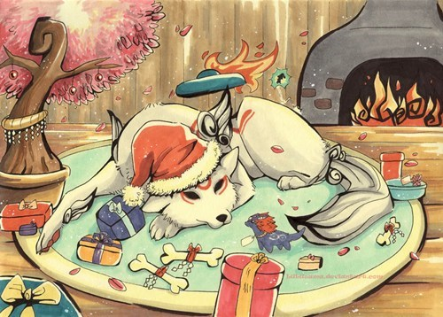 Ōkami,christmas,amaterasu,art