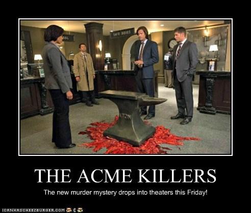 acme,jensen ackles,anvil,Supernatural,dean winchester,sam winchester,Jared Padalecki,cartoons,murder mystery