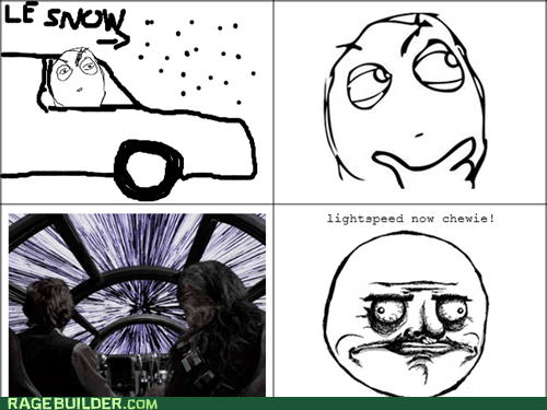 star wars,snow,me gusta,Movie,driving,Chewie,light speed