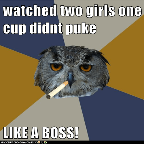 watched two girls one cup didnt puke  LIKE A BOSS!