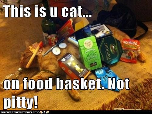 This is u cat...  on food basket. Not pitty!