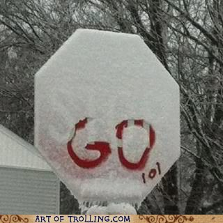 snow,stop sign,go
