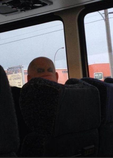 head tattoos,eyes,bus