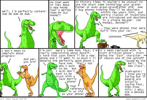 new technology,apple,dinosaur comics