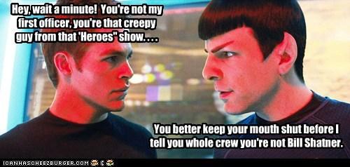 Captain Kirk,heroes,actors,Spock,Zachary Quinto,secrets,sylar,William Shatner,different,chris pine