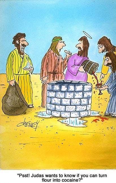 jesus,drug dealer,miracle,flour,magic,judas