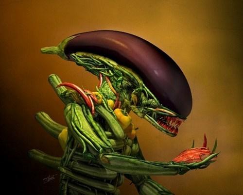 Aliens,xenomorph,vegetables,fan art,eggplant