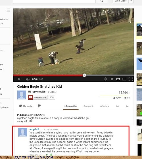 youtube,baby snatching eagle,comment,misunderstanding,hobbit