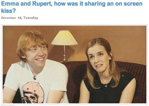 Harry Potter,kissing,enjoyed it,rupert grint,on screen,emma watson