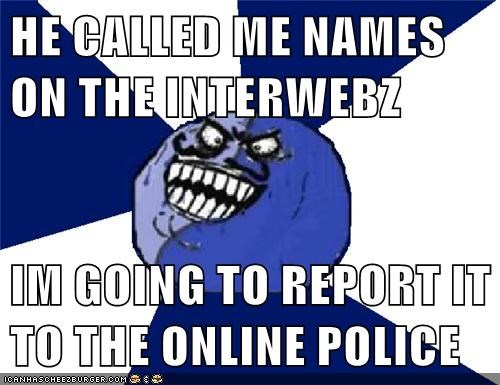 HE CALLED ME NAMES ON THE INTERWEBZ  IM GOING TO REPORT IT TO THE ONLINE POLICE