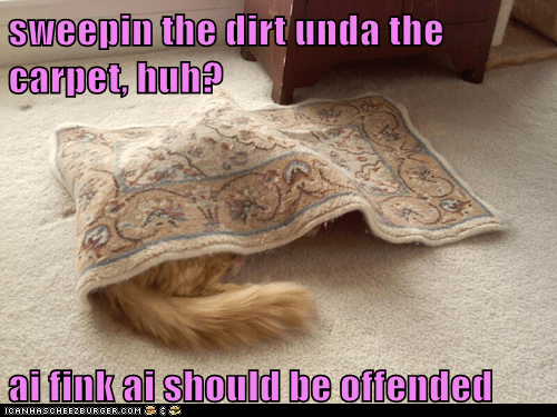 sweepin the dirt unda the carpet, huh?  ai fink ai should be offended