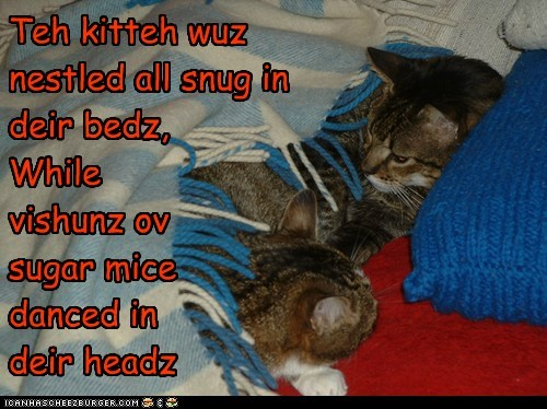 Teh kitteh wuz nestled all snug in deir bedz, While vishunz ov  sugar mice  danced in deir headz