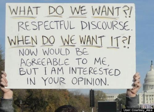talk this over,protesters,respectful discourse