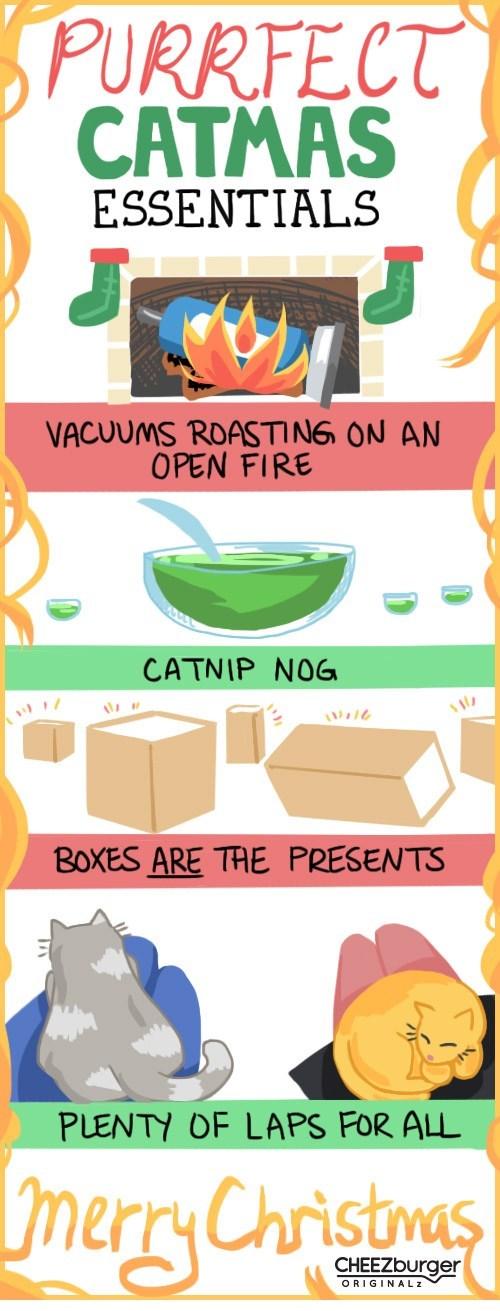 christmas,illustrations,originals,boxes,catnip,laps,Cats,vacuums,holidays,warm