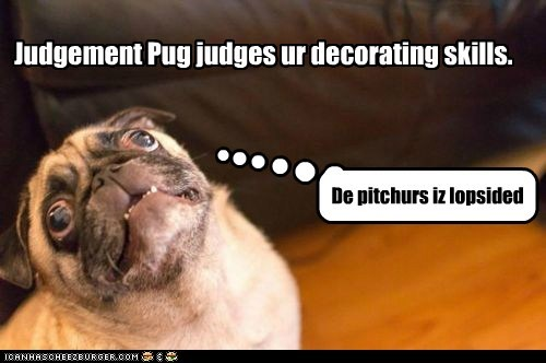 Judgement Pug judges ur decorating skills.