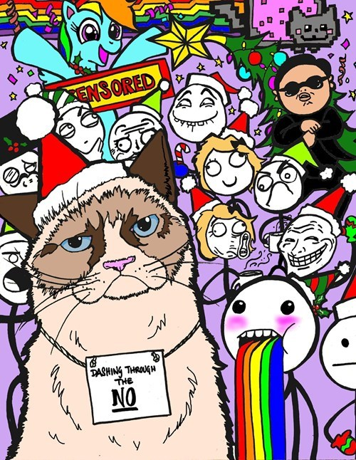 jingle memes,christmas card,gangnam style,Grumpy Cat,rainbow dash