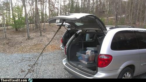 minivan,stick,rear door,prop