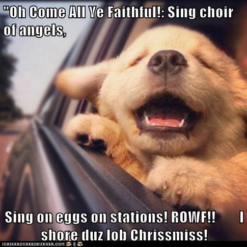"""Oh Come All Ye Faithful!: Sing choir of angels,   Sing on eggs on stations! ROWF!!        I shore duz lob Chrissmiss!"