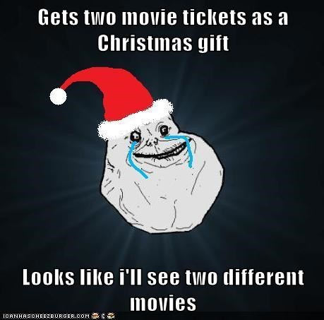 Gets two movie tickets as a Christmas gift