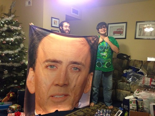christmas,actor,gift,nicolas cage,tree,funny,holidays