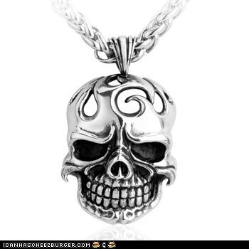 Mens Punk Flame Big Skull Head Titanium Pendant
