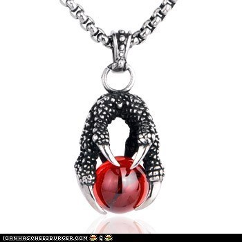 Dragon Claw Gemstone Titanium Pendant Necklace For Men