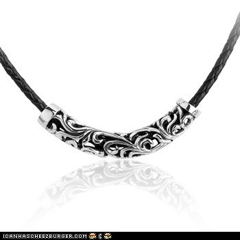 Mens Gothic Hollow Design Titanium Pendant Necklace With Hide Rope