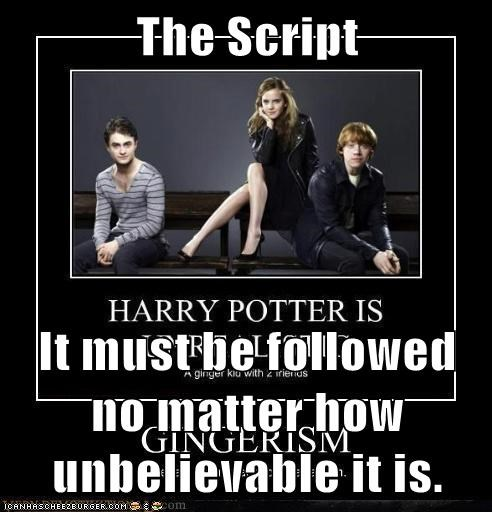 The Script  It must be followed no matter how unbelievable it is.