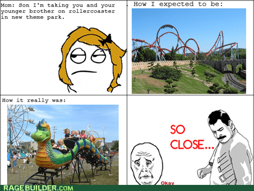 troll mom,so close,theme park,Okay,roller coaster