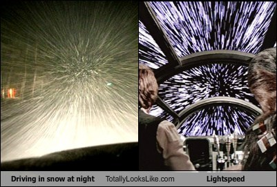 Driving in snow at night Totally Looks Like Lightspeed