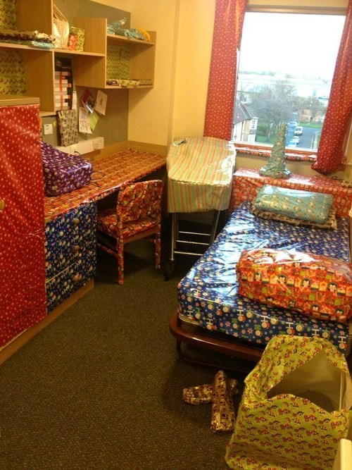 Christmas Dorm Prank Makes EVERYTHING Presents!